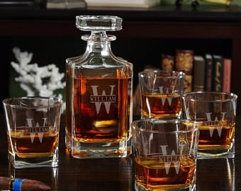 Oakmont Engraved Whiskey Decanter Set - Includes One Decanter and Four Rocks Glasses - Ideal Retirement Gifts for Business Professionals