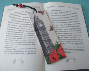 London wooden bookmark, travel page marker, Big Ben and roses, reading accessory, teacher gift, unique bookmark, OOAK, vintage London