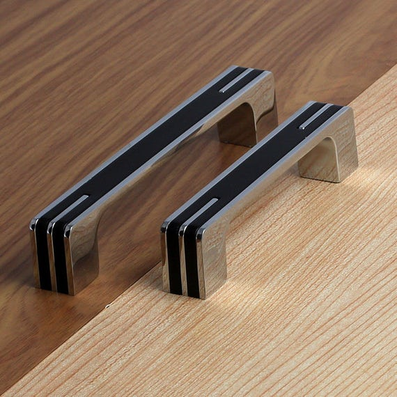 "Modern Kitchen Cabinet Handles And Pulls: 3.78"" 5"" 6.3"" Modern Silver Black Kitchen Cabinet Door"