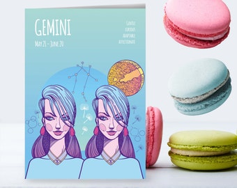 GEMINI Zodiac Sign, Star Sign Card, Astrological Zodiac Birthday Card, Sun Sign | PDF Instant Download