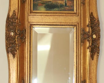 Rare Antique Framed Beveled Mirror Under Oil Painting Combination. Summer Sale Reduced.