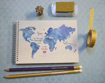 You are beautiful | blue world map illustrated notebook - A6 spiral binding