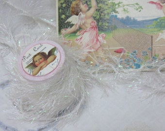 6 yards WHITE Tinsel Glitter Trim, Twine, Painted Wooden Spool with Victorian Valentines Art, Gift Bag, Gift Tag, Craft, Sew, Knit