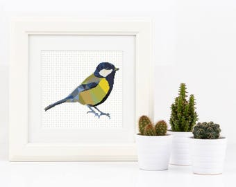 Blue Tit Cross Stitch Pattern Animal Collage Bird Polygon Geometric Mosaic Modern Tit Cross Stitch Pattern Embroidery Instant Download PDF