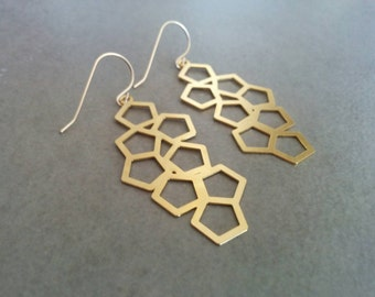 Geometric Earrings, Gold Earrings, Geometric Jewelry, Gold Geometric, Honeycomb Earrings, Dangle Earrings, Earrings, Hexagon Earrings