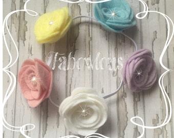 Rose Felt Flower Headband, Flower Crown, Bun Band