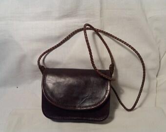 Vintage Dark Brown Leather Handbag - Shoulder Bag - Small Size.Brand:BOSBOOM