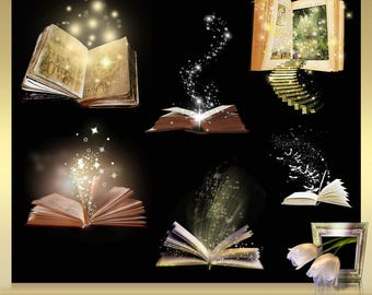 6 Magical OverlaysVol. 3 -  magic shine book overlays - magical glow light effect - Magical Book - Book Overlay - Fairy Dust Magic Fantasy
