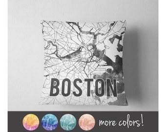 Watercolor Boston map throw pillow