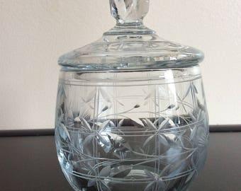 HEISEY Vintage Crystal Clear Mustard Jam Jar w/Lid etched marked