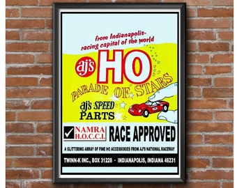 HO Scale Slot Car Speed Parts Poster – AJs Twinn K Indianapolis Vintage Slot Car