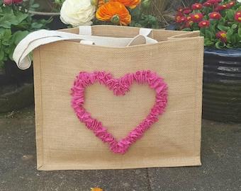 Pink Rag Rug Heart Hessian Bag, bag for life, shopping bag