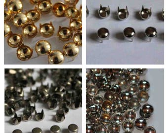 100 x Round Studs Rivets in Silver Gold Gun Metal for Leather Craft Punk Studs