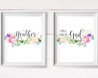 Christian Nursery Set, I am a Child of God, Personalized Name Printable, Custom Nursery Name Set, Shabby Nursery Wall Art, Instant Download