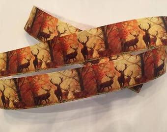 Deer in the Forest Grosgrain Ribbon 1""
