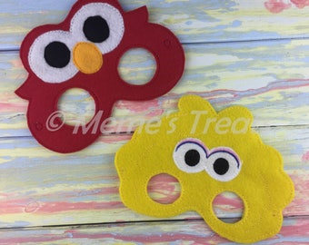 Deluxe Felt Mask -- Kids Mask – Inspired by Sesame Street -- Costume – Dress-Up -- Halloween -- Pretend Play -- Party Favor