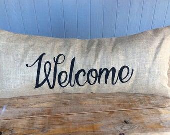 Lumbar Pillow, Burlap Pillow, 14x36 Pillow, Last Name Pillow, Monogram Pillow, Custom Pillow, Extra Long Pillow, Welcome Entry Pillow