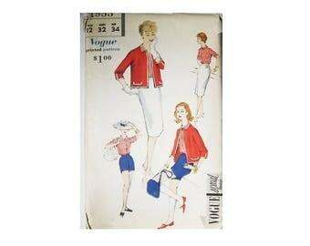 Vintage 1958 Vogue 4953 Size 12 Vogue Special Design Summer Ensemble, Shorts, Skirt, Jacket Blouse Chic Retro Fashion, Cut and Complete