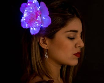 Warm Pink Peony with Light Purple LEDS, Glow Flower Hair Clip