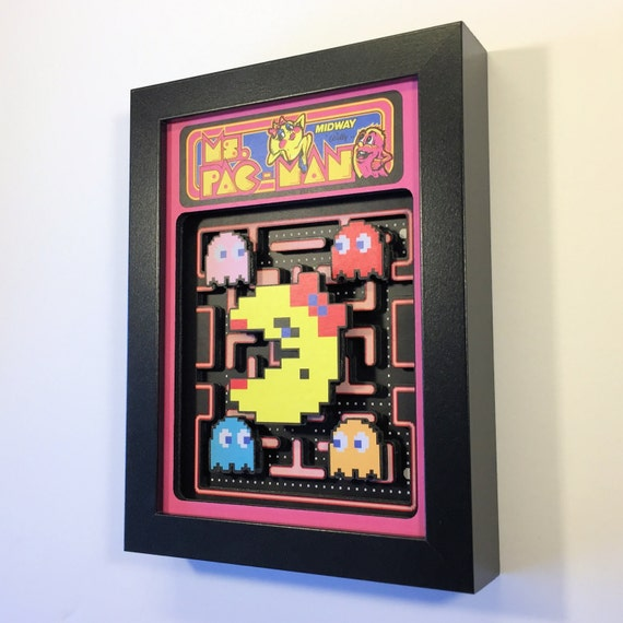"Ms. Pac-Man 3D Shadow Box 5""x7"""