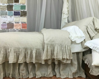 Shabby Chic linen ruffled duvet cover with mermaid long ruffle style, linen bedding, shabby chic, over 41 colors and patterns to choose