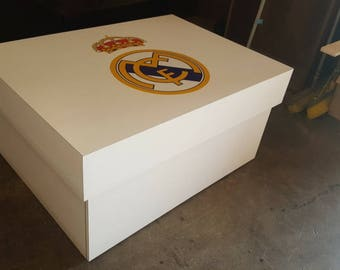 Custom Giant Shoe Box Real Madrid Oversized Shoe Storage Sneaker Box Boots Soccer Madrid Fan Gift Boyfriend Husband Football Fan Ronaldo