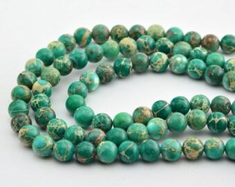 "16""   green Imperial Jasper Stone Beads  Round 8MM"