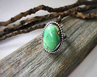 Australian Variscite Ring, Variscite Ring, Statement Ring, Sterling Silver, Handmade, Size 7, Green Stone, Boho Jewelry, 925 Silver