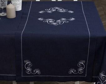 Linen table runner, Dark Blue linen table runner, Linen table top, Linen table cover, Burlap table runner