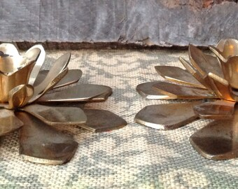 Vintage Brass Lotus Flower Pair Candlesticks-Brass Flower Candlesticks-Hollywood Regency Brass Candlesticks