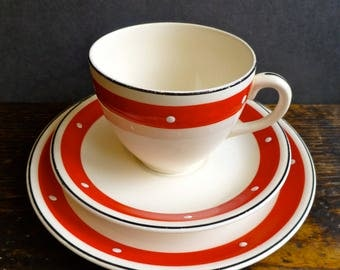Red and White Polka Dot Trio by Alfred Meakin - Cup, Saucer & Plate