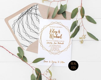 Real Foil Geometric Wedding Invitation Deposit