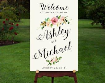 Printable Wedding Sign, Welcome Wedding Sign, Floral Wedding Sign