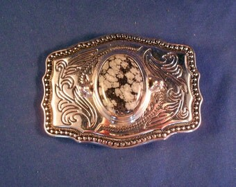 Belt Buckle Made in USA Silver Tone Metal with Snowflake Obsidian Stone Western Wear Cowboy Buckle Very Handsome Gift For Him