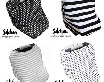 Stretchy Car Seat Cover/Nursing Cover by Solchan || Multifunctional Stretch Baby Carseat Cover, boy black white gray