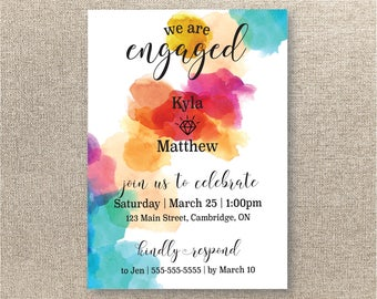 Watercolor Engagement Party Invitation - Digital Invitation  - Printable Engagement Party Invitation - Bright Engagement Party Invite