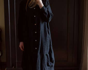 100% Linen Oversized Black Dress, hand made in London, sustainable, artisan, fashion
