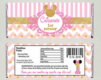 Minnie Moused Pink gold Candy Wrapper, Hershey Candy Bar - Printable