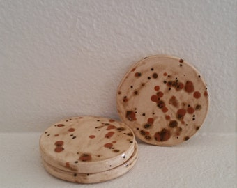 Set of 3 spotted Coasters, Ceramic Drink Coasters, Drink Coasters, Brown Coasters, Spotted Coasters
