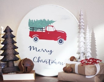 Farmhouse Christmas Sign - Truck with Christmas Tree - Rustic Christmas Sign - Wooden Sign - Merry Sign - Merry Christmas Wood Sign -