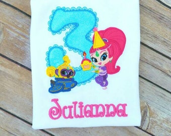 Shimmer and Shine and her sidekick Birthday shirt. Pick your colors!