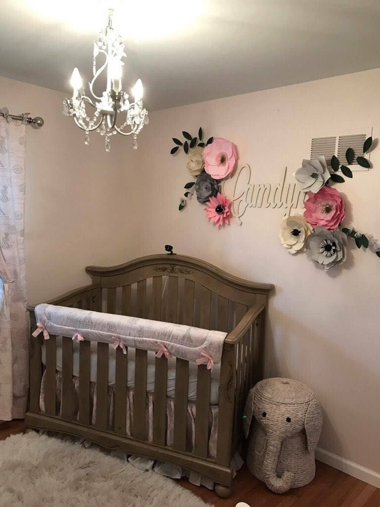 Paper flowers wall decor custom large pink gray paper flowers for Baby room wall decoration