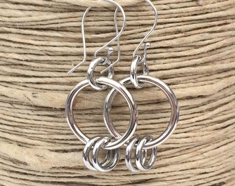 Sterling Silver Hoop Earrings Handmade