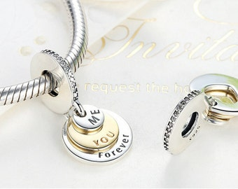 Sterling 925 silver charm you & me forever bead pendant fits Pandora charm and European charm bracelet