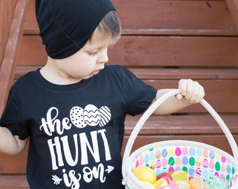 the hunt is on - easter tee - boy easter shirt - trendy kid shirt - girl easter shirt - black easter shirt - easter shirt for girls -