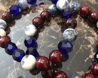 Sodalite, Blue Glass, & Red Dyed Quartzite Beaded Bracelet Set (2 Piece Set)