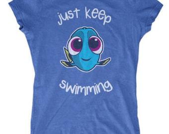 Just Keep Swimming Women's Funny Dory T-shirt Nemo New