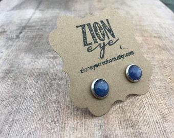 Kyanite Stud Earrings  8mm Stainless Steel