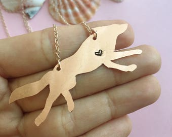 Copper Wolf Necklace | Hand Cut Copper | Wolf Pendant | Wolf Charm
