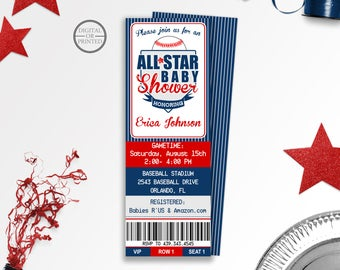 Baseball Baby Shower Invitations | Baseball Ticket Baby Shower Invitations | All Star Baby Shower | Coed Baby Shower | Sports Baby Shower